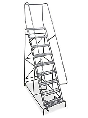 9 Step Rolling Safety Ladder Assembled With 10 Top Step H 842 10 Uline Safety Ladder Rolling Ladder Ladder