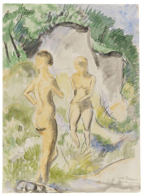 Erich Heckel - Zwei stehende Frauen