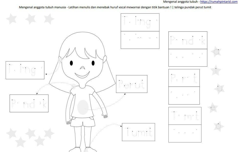 Belajar Membaca Huruf Vokal L2 Leher Siku Jari Lutut Worksheet
