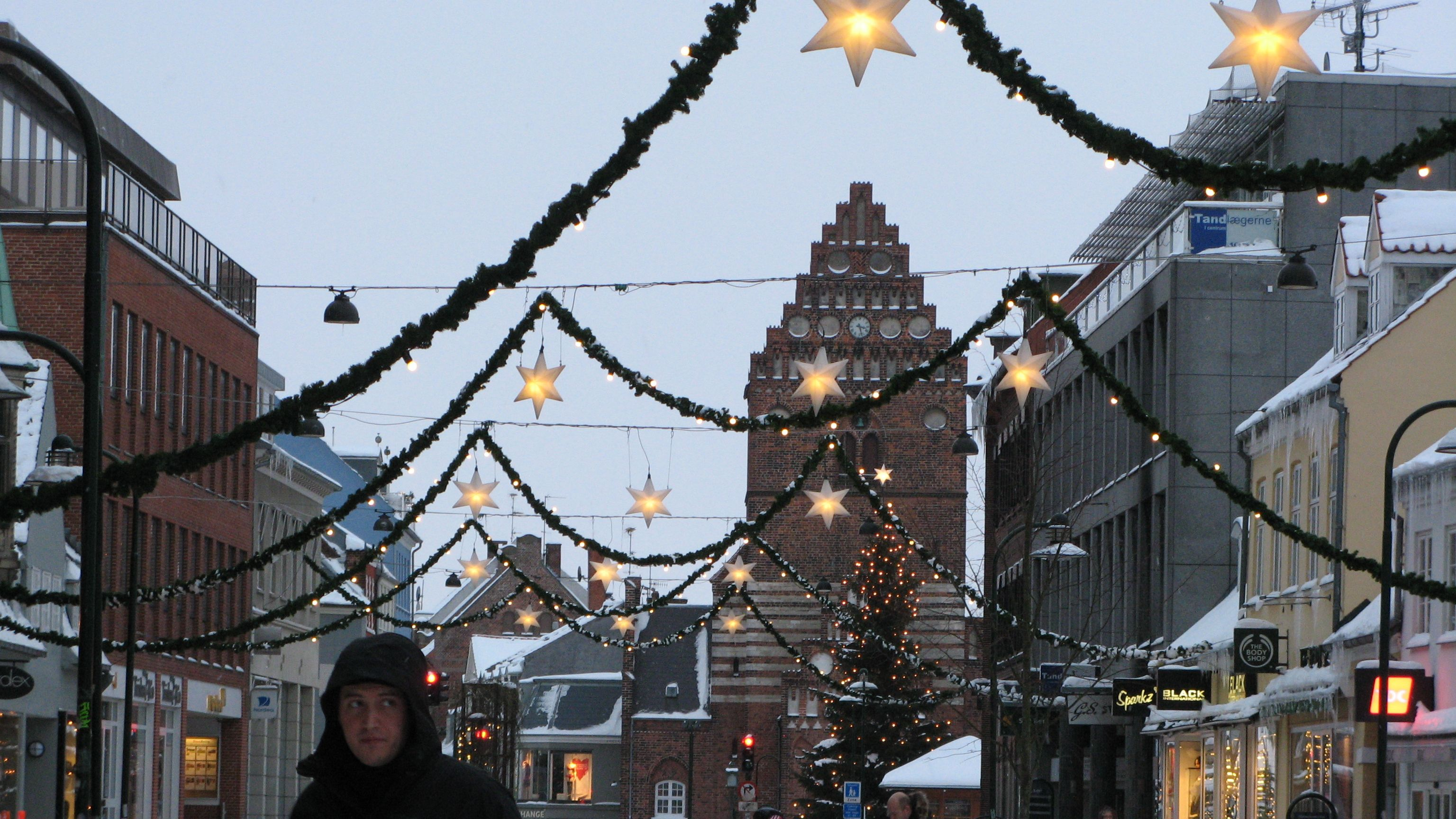 Denmark streets decorated for the holidays