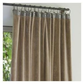 rideaux en fil d 39 indienne velours beige et lin anneaux m tal boutique d co en ligne cosy d co. Black Bedroom Furniture Sets. Home Design Ideas