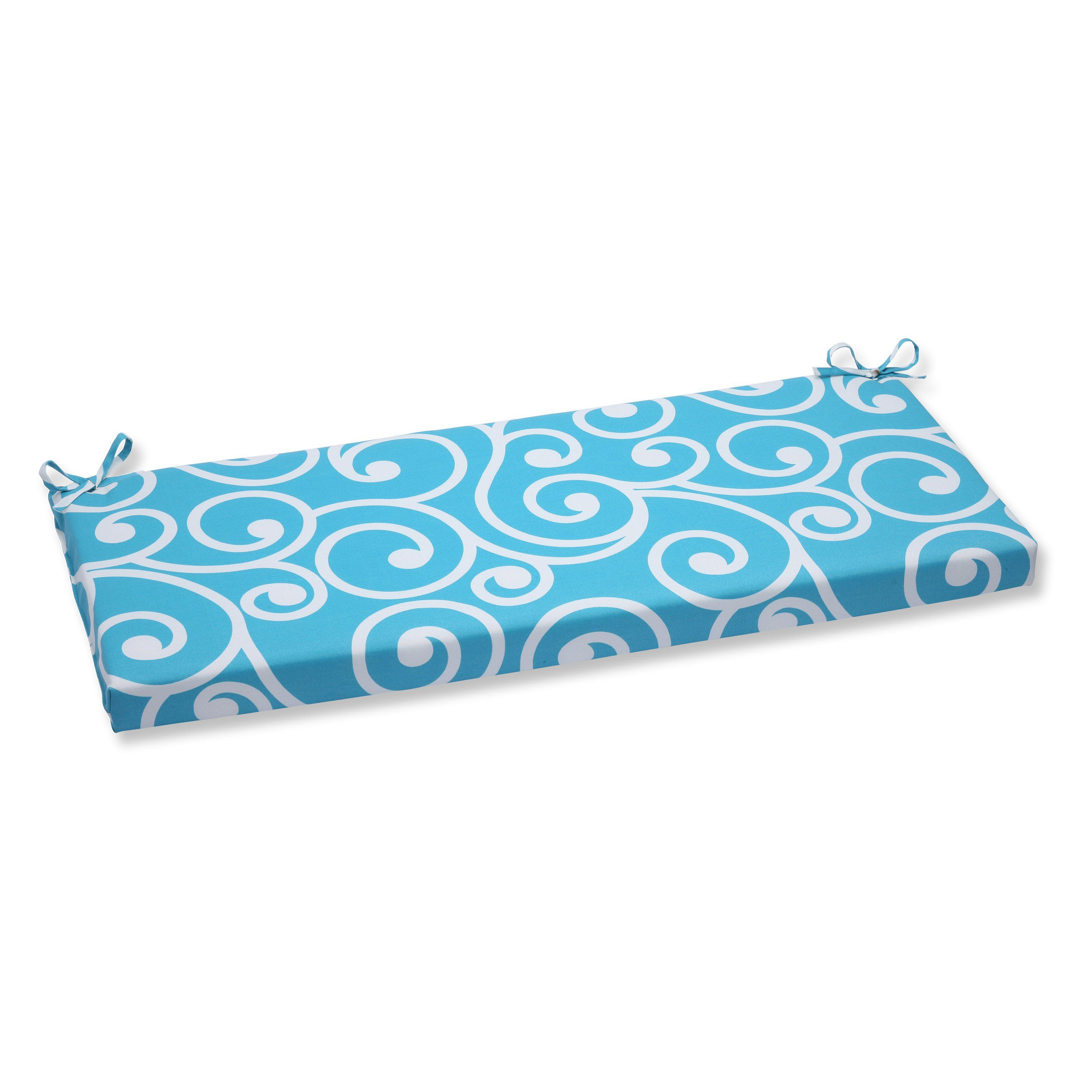 Pillow Perfect Best Swirl Turquoise 45 in Bench Cushion