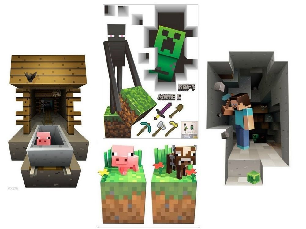 Minecraft Wall Decorations minecraft themed vinyl 3d wall decals stickers game room decor