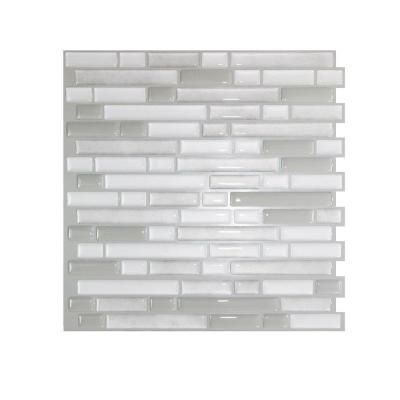 Smart Tiles Bellagio Blanco 10 06 In W X 10 In H Peel And Stick