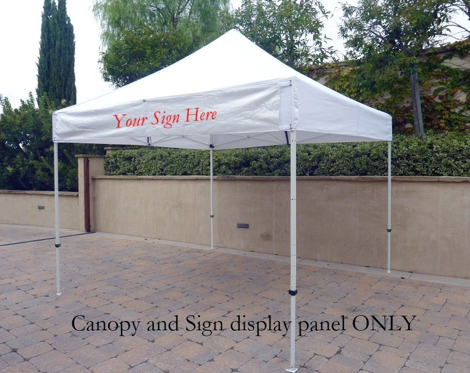 Ez Up 10x10 Gazebo Tent Canopy Replacement Canopy Top W Detachable Sign Display Panel And Flag Pole Holder Whit Sign Display Replacement Canopy Gazebo Tent