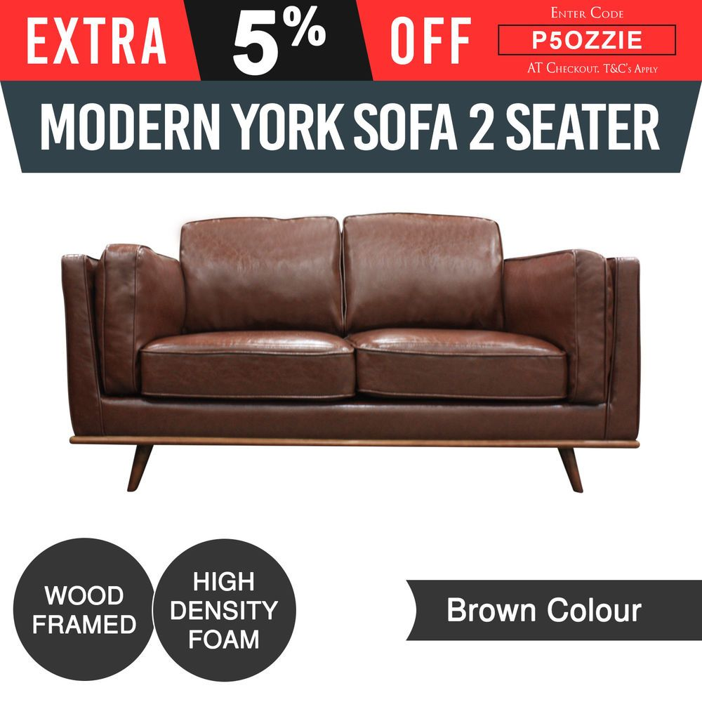 New seater sofa leatherette brown colour high density foam wooden