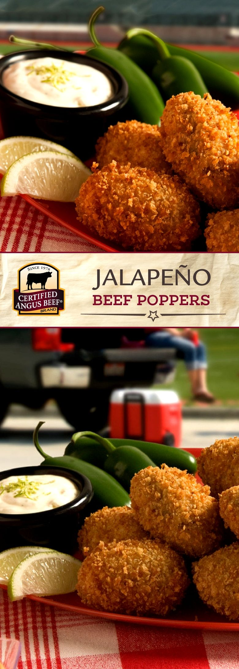 Beef up your Jalapeño Poppers with Certified Angus Beef ®️️️️️️️️️️️️️️️️️ brand beef to start your game day party off with a bang! An EASY appetizer that's BIG on FLAVOR to keep game day fans happy! Serve Jalapeño Beef Poppers as a party appetizer, easy football food, or a fun snack any night of the week! #bestangusbeef #certifiedangusbeef #appetizerrecipes #jalapenopoppers #easyrecipes #partyrecipe #gameday #footballfood