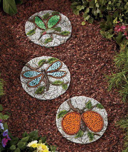 Set Of 3 Garden Creatures Glow In The Dark Wings Stepping Stones,