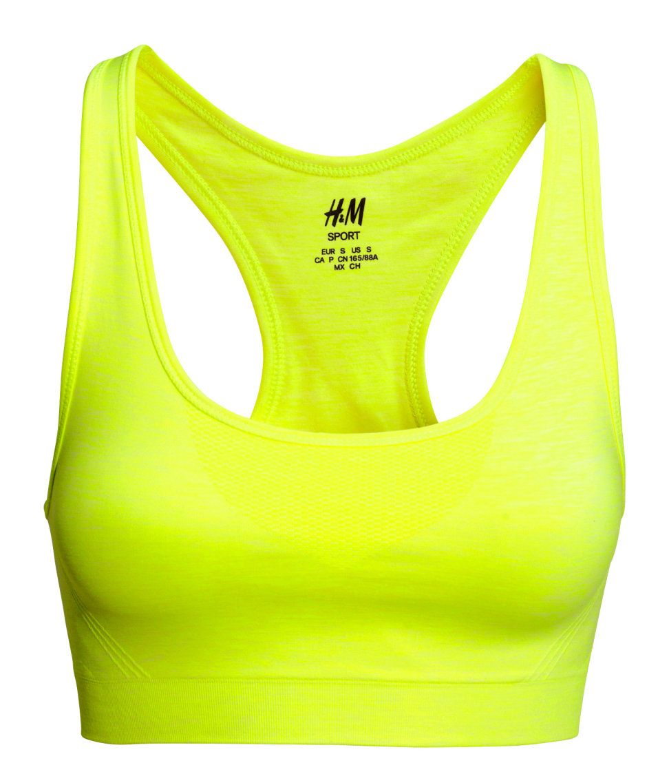 Neon yellow racerback sports bra with functional fabric