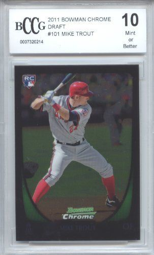 Mike Trout 2011 Bowman Chrome Draft Rookie Beckett Graded Bccg 10