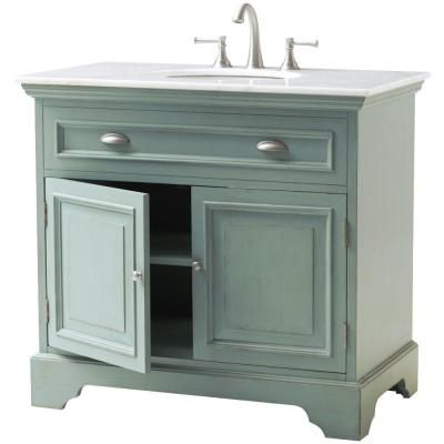 Home Decorators Collection Sadie 38 In. Vanity In Antique Blue With Marble  Vanity Top In