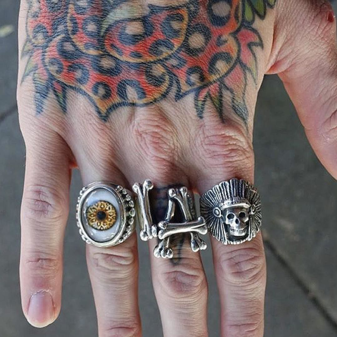 We love when you come in and show us your TGF collections! @steveoshoots picked up his Leopard Beaded Eye Ring today to add to his LA Bones and Ghost Warrior rings. #thegreatfrog #thegreatfrogla