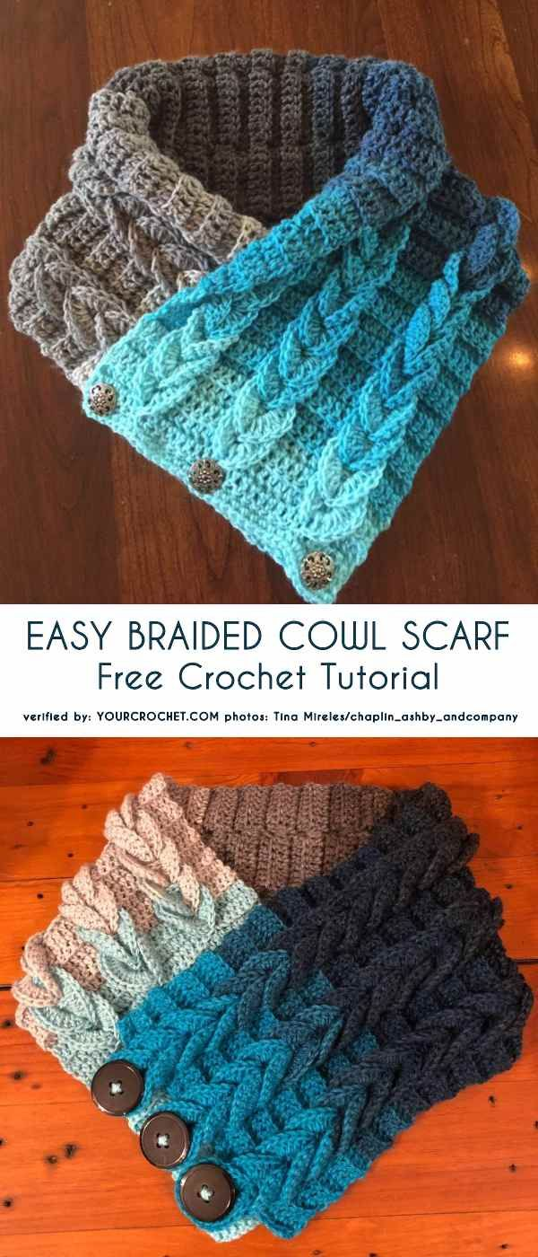 Easy Braided Cowl Scarf Free Tutorial, Crochet Patten #crochettutorial