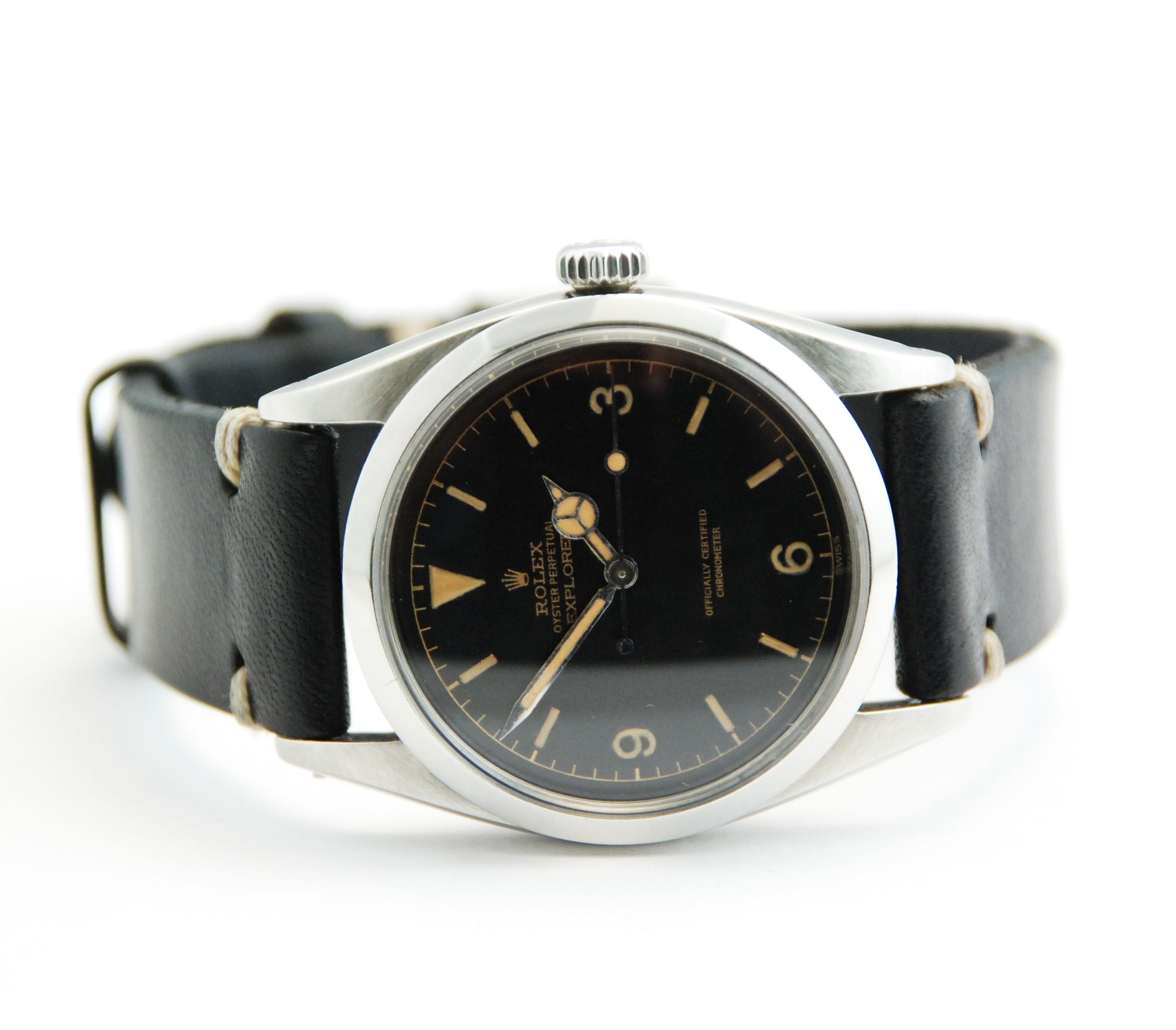 Rolex Explorer Stainless Steel Vintage w/ Black Leather