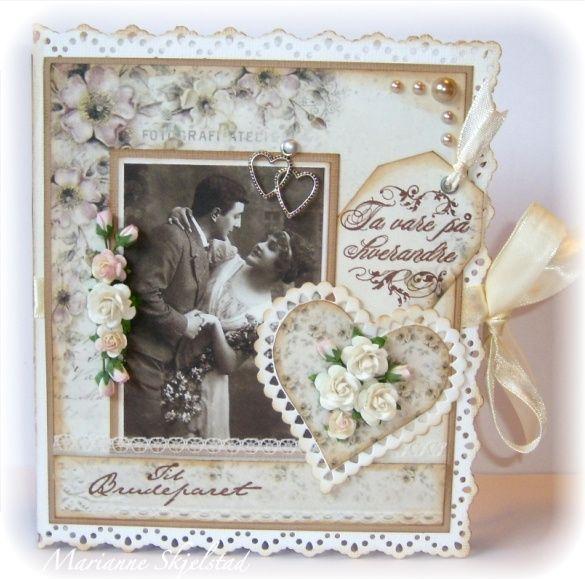 Mariannes papirverden.: Bryllupskort - Pion Design