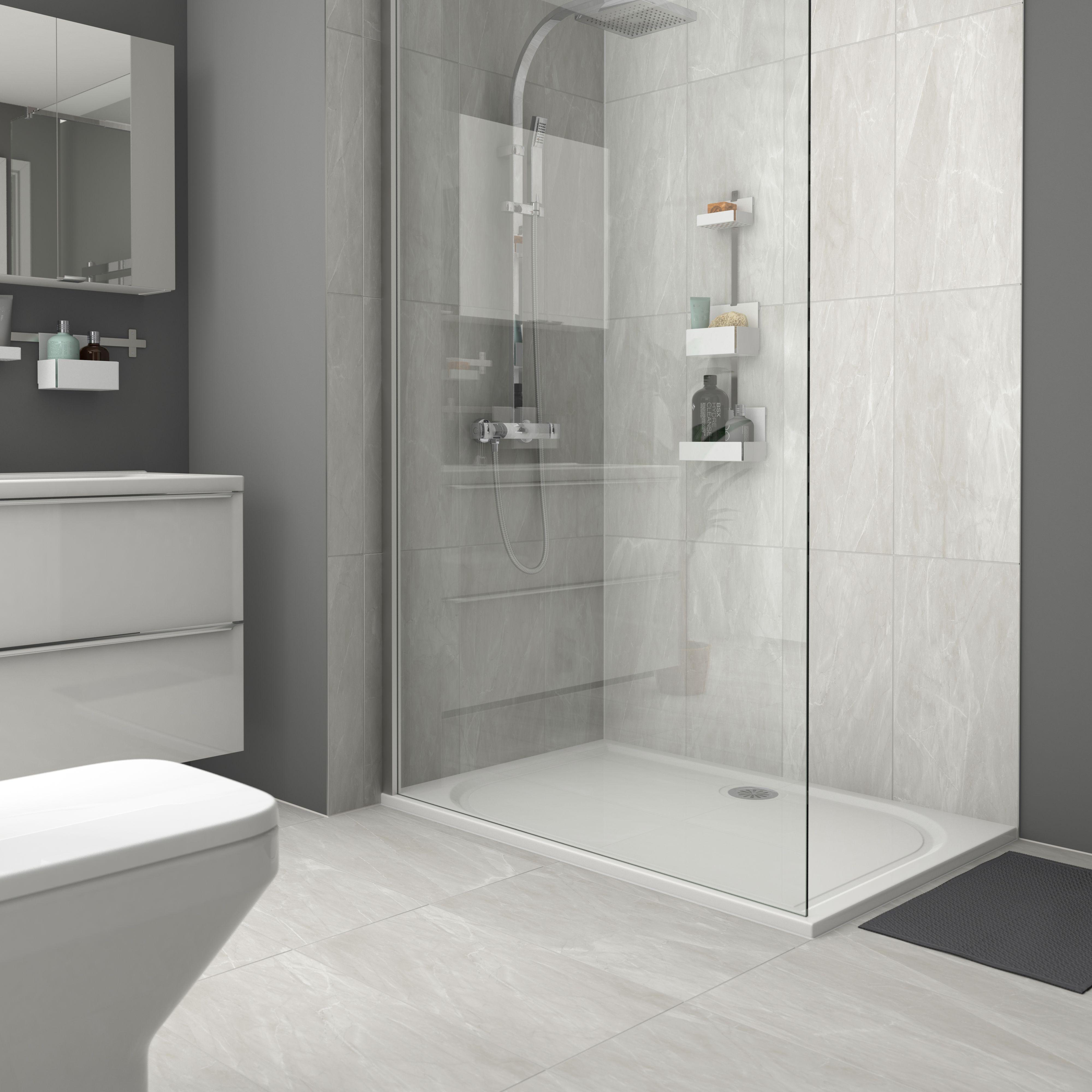 Killington Light Grey Matt Marble Effect Ceramic Floor Tile Pack Of 6 L 600mm W 300mm Ceramic Floor Tile Light Grey Bathrooms Gray Tile Bathroom Floor