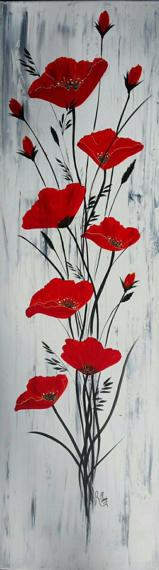 Pour Elle Peinture Acrylique Sur Toile 40x100 By Raffin Christine Facebook L Etoile De Chris Abstract Art Painting Poppy Painting Flower Art