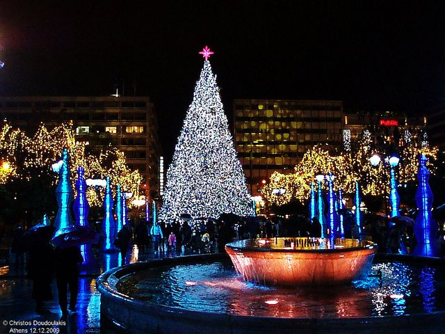 Christmas In Athens Greece Holiday Christmas Tree Lighting Dream Holiday