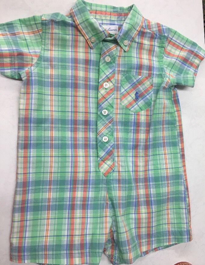 Ralph Lauren Baby Boys One Piece Shortalls Romper Blue Plaid 6 MO Preppy Easter | eBay