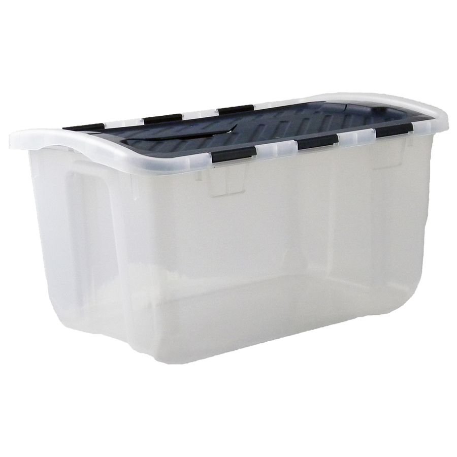 Storage Totes with Hinged Lids Clear