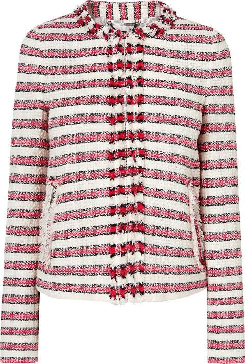Tallula Pink Tweed Jacket Multi. A tweed jacket is ever chic and Tallula certainly doesn't disappoint. We love the boxy fit, frayed hems and collarless silhouette which looks just as chic with jeans and a tee and it does with work ready tailoring. #LKBennett #Brown #Pink #TweedJacket #Women #fashion #obsessory #fashion #lifestyle #style #myobsession #winterfashion #salefashion #womenfashion #affordablefashion