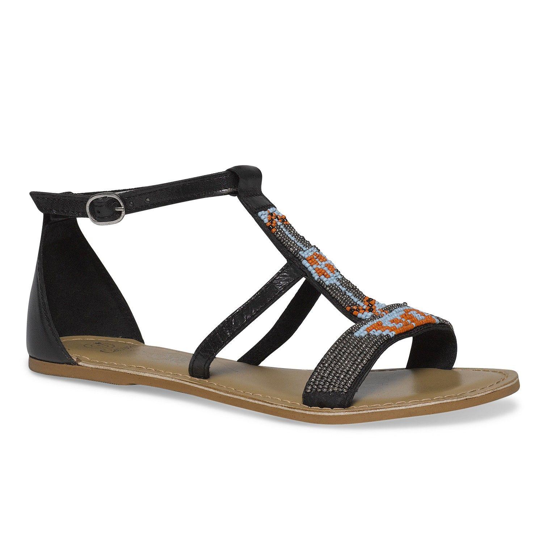 sandales ethniques en cuir dessus perles | chaussures | pinterest
