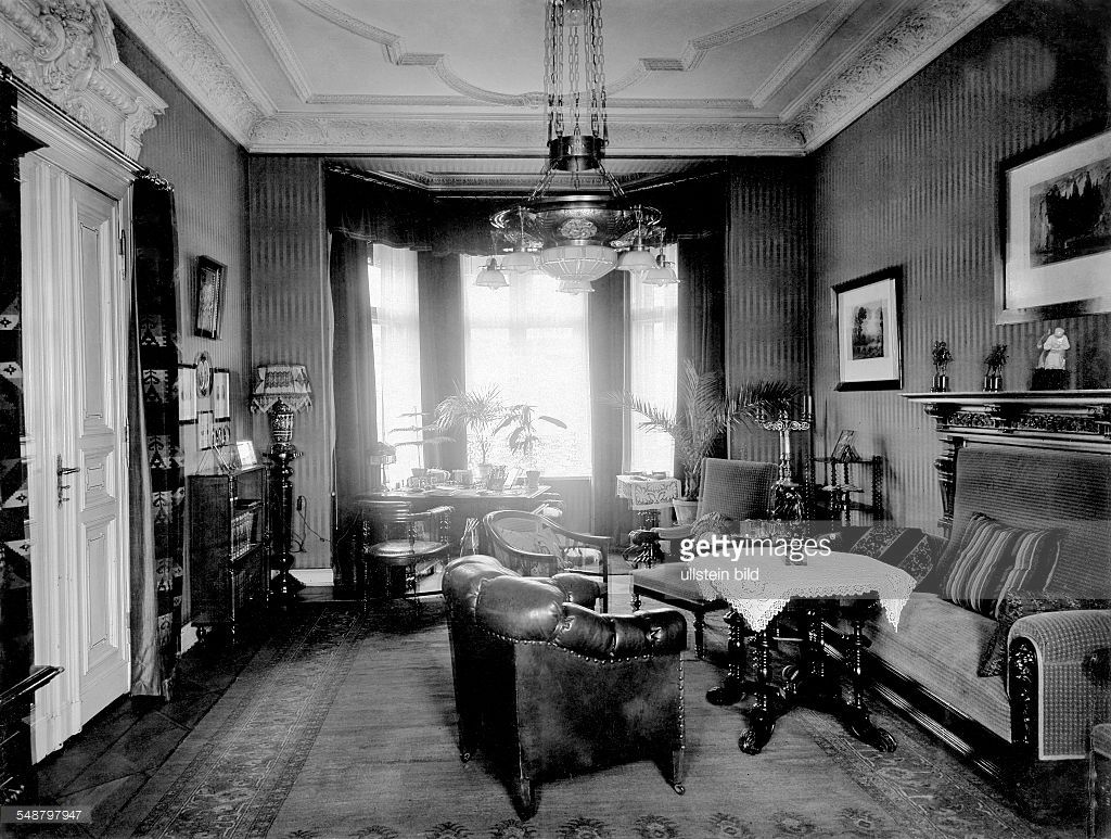 German Empire, Old Fashioned Living Room With Furniture From Around 1900    Photographer: Marianne Breslauer   Published In: Hausfrau (Blatt)  4/1931/1932 ...
