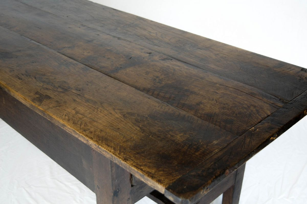 RUSTIC GEORGIAN PLANK TOP KITCHEN TABLE IN CHESTNUT WITH SINGLE ...