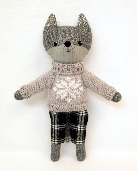 grey wolf plush stuffed animal doll woodland toy wool embroidered doll handmade dressed toy eco. Black Bedroom Furniture Sets. Home Design Ideas