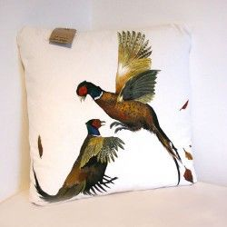 Hand Painted Pheasants Cushion by the peahen's nest