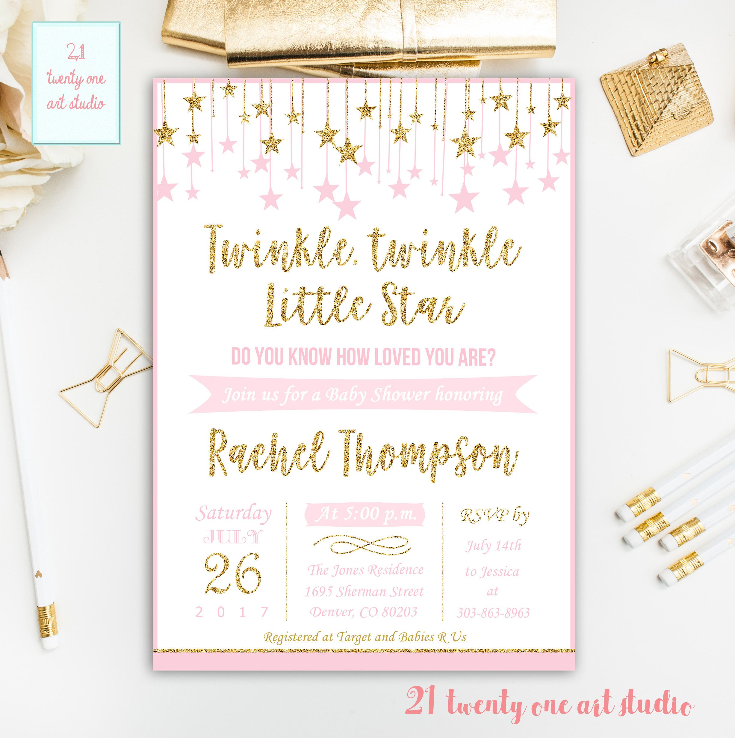 Twinkle Twinkle Little Star Baby Shower Invitation, Pink And Gold