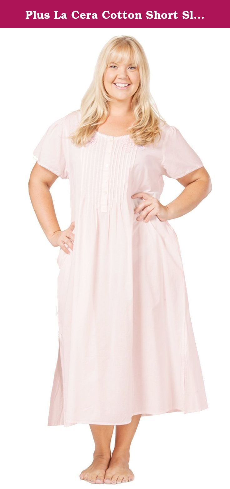 d86289e07ba Plus La Cera Cotton Short Sleeve Lace-trim Nightgown in Pink (3X (26 ...