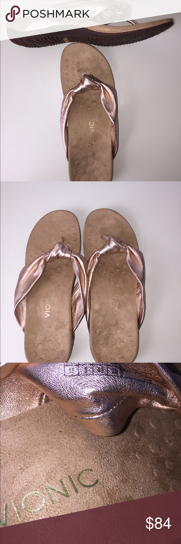 3aa4df993ff062 Vionic Pippa Rose Gold Leather Flip Flop New Size 11 thong sandal ...
