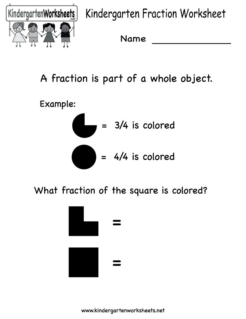 Kindergarten Fraction Worksheet Printable | Kindergarten Ideas ...