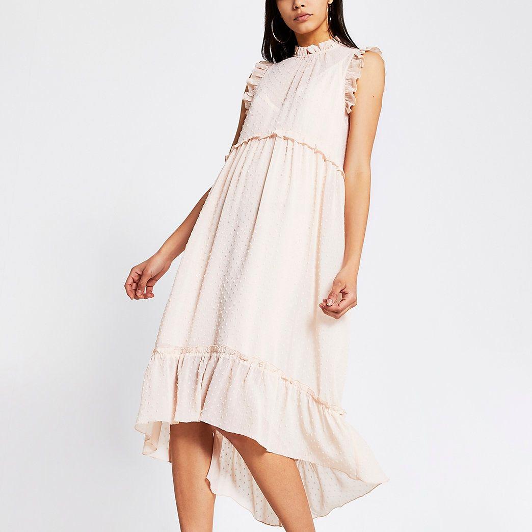 Light Pink High Neck Midi Smock Dress Wedding Guest Dress Summer Wedding Guest Dress Guest Dresses [ 1044 x 1044 Pixel ]