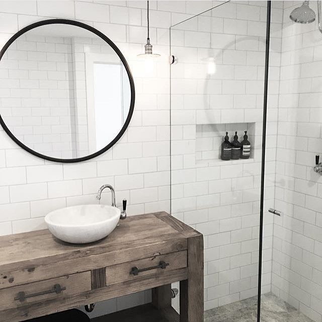 Cool Timber vanity with white round basin chrome spout chrome tap and mixer chrome Awesome - Fresh black framed bathroom mirror Minimalist