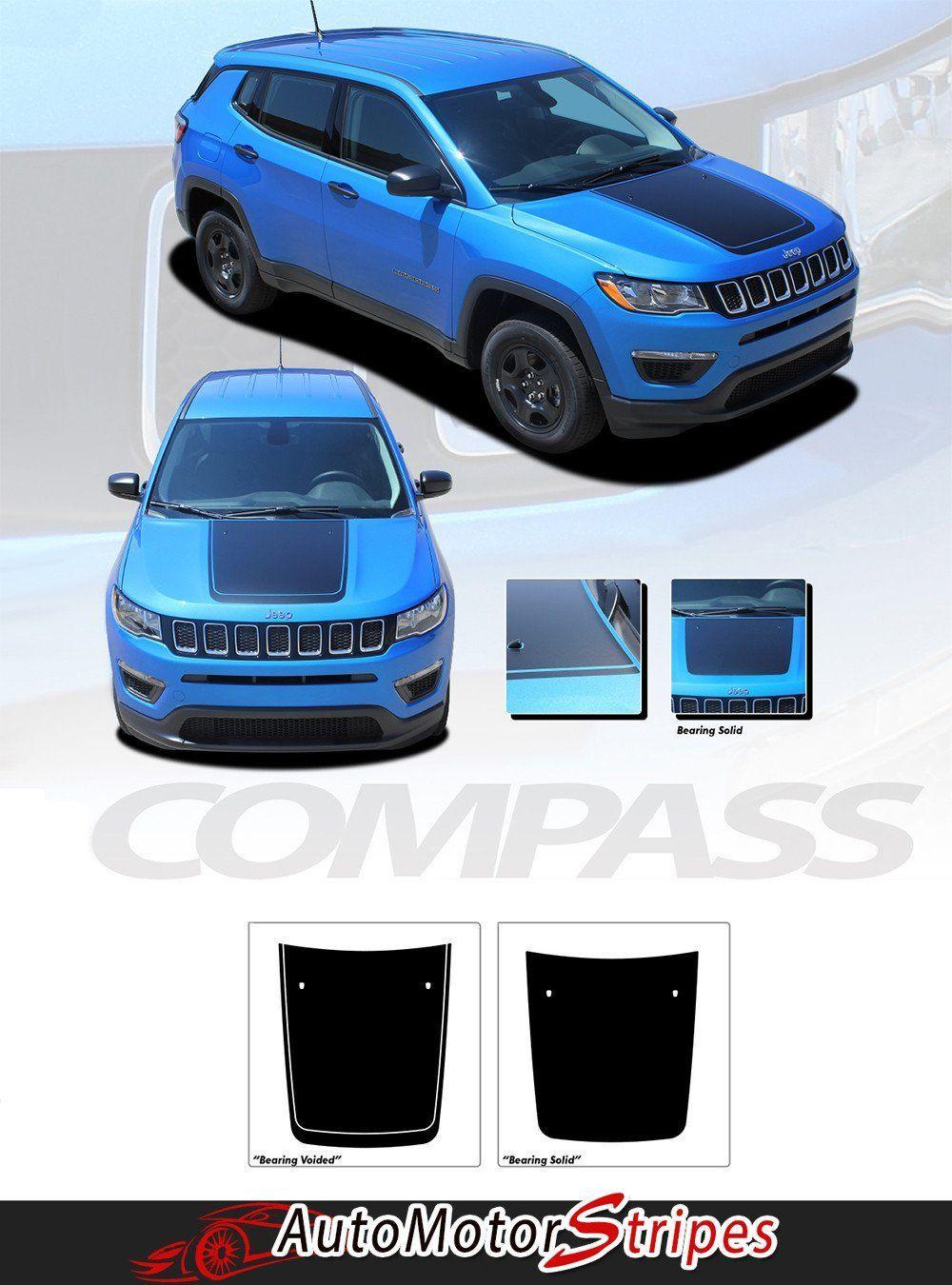 2017 2020 Jeep Compass Hood Stripes Vinyl Graphics Decals Accent 3m Bearing Jeep Compass Vinyl Graphics Jeep