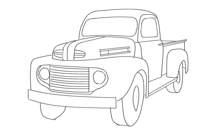 Line Drawing Old Ford Pickup Truck