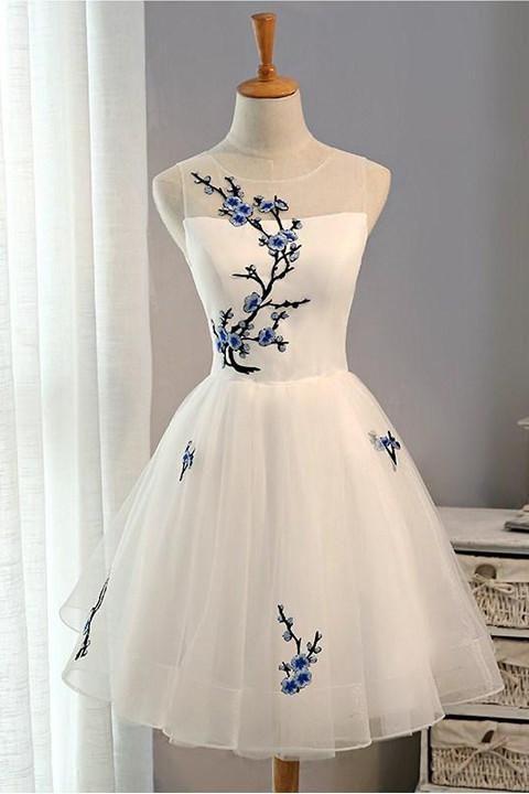 New Arrival Flowers Cheap Short Homecoming Dress Prom Dresses,White Short Graduation Dress,90310 #flowerdresses