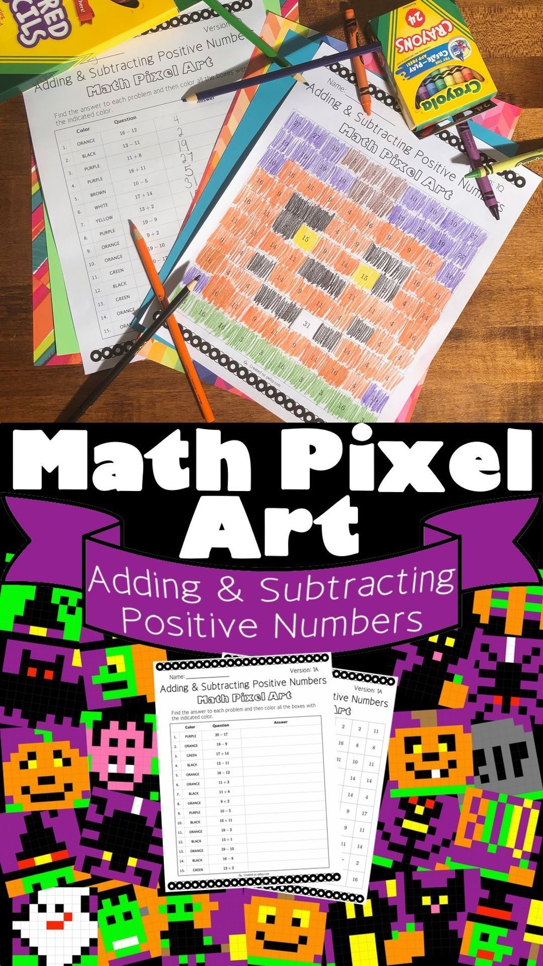 Halloween Math Adding Amp Subtracting Integers 1 Pixel Art