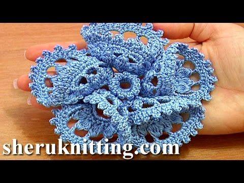 Flower 3D Five Folded Petals Crochet Tutorial 63 Part 1 of 2 Crochet Pet...