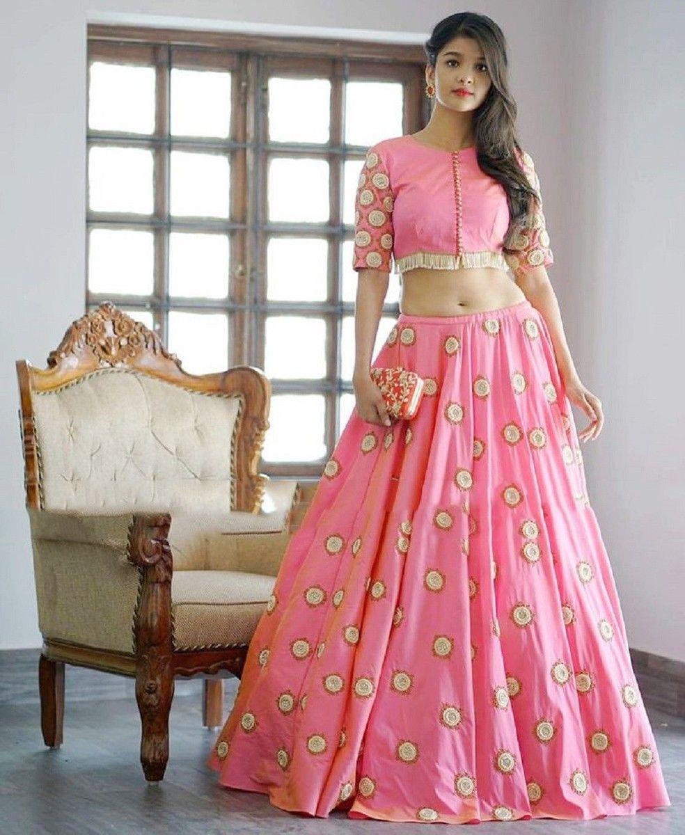 Crepe Silk Printed Pink Semi Stitched Lehenga | lehenga | Pinterest