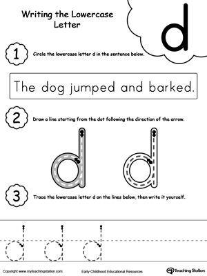 Writing Lowercase Letter D Worksheets, Activities and Teaching aids - suggestion letter