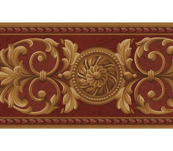 Interior Place Medallion Red Gold Wallpaper Border, 21