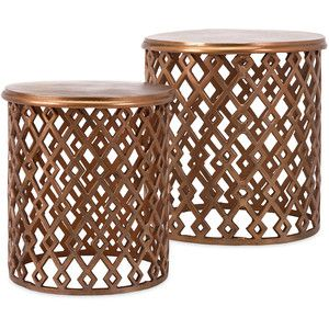 Copper Drum Side Table Set Of 2