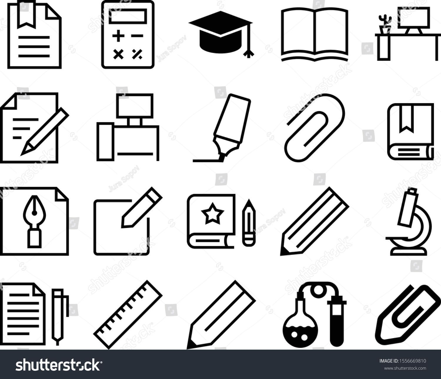 Photo of Education Vector Icon Set Such Graduate Stock Vector (Royalty Free) 1556669810