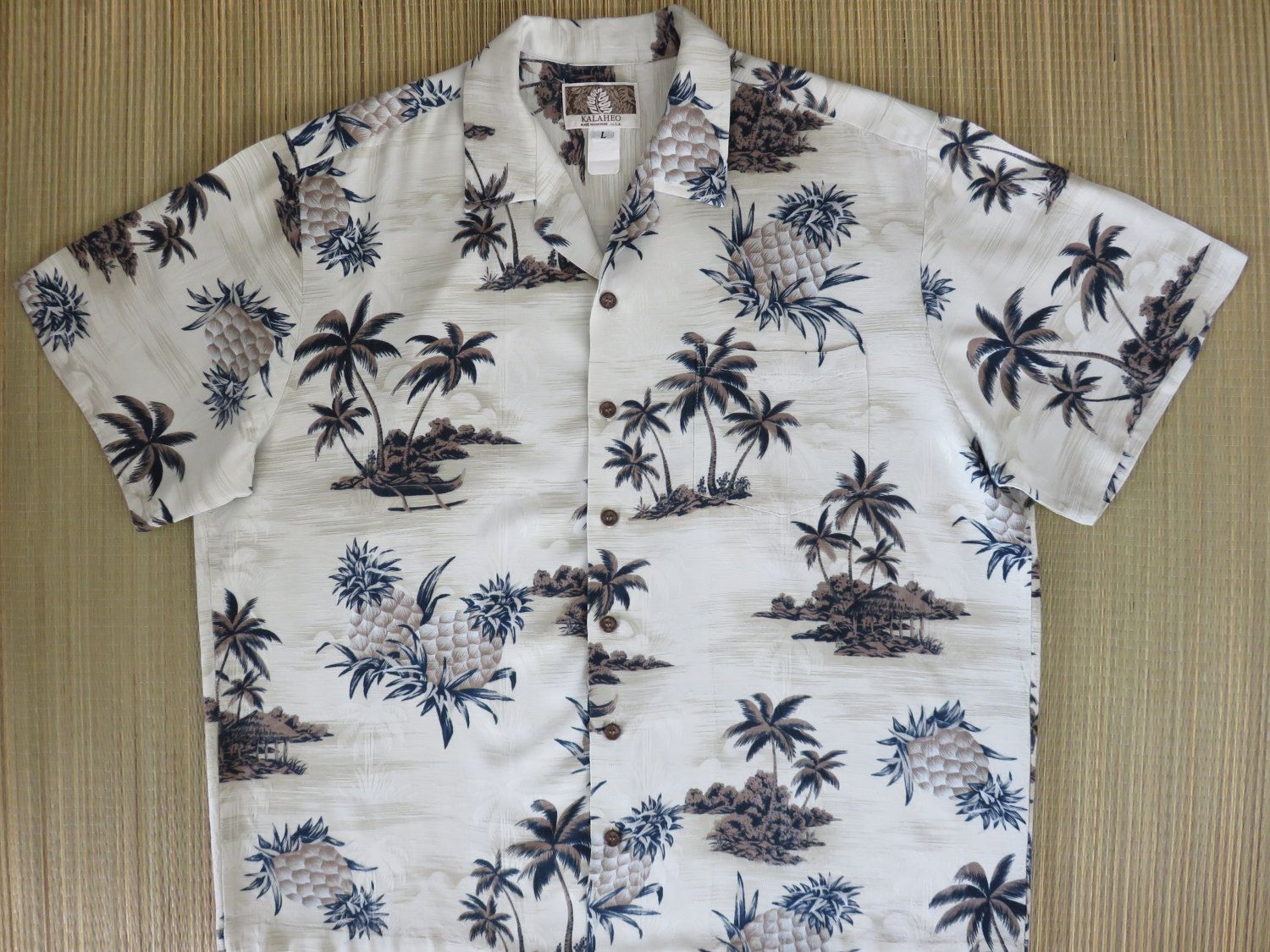 ddfbcd45 Hawaiian Shirt KALAHEO Vintage 100% Silk Pineapple Palm Trees Aloha Shirt  Surfer Tropical Island Mens Camp - L - Oahu Lew's Shirt Shack by ...