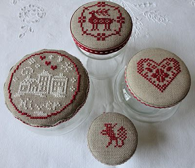 Embroidered Christmas jars. - Great idea...she's got other samples posted on site.