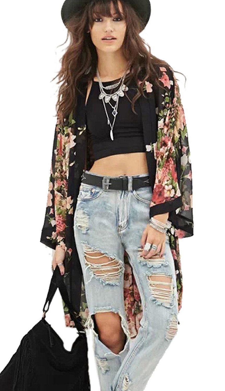 Relipop Women's Sheer Chiffon Blouse Loose Tops Kimono Floral Print Cardigan at Amazon Women's Clothing store: