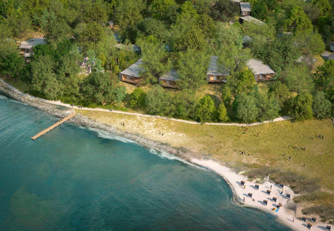 Die Ferienwohnungen von oben Die Lodges liegen direkt am
